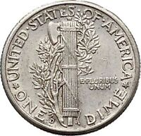 Mercury Winged Liberty Head 1942 Dime United States Silver Coin Fasces i43077