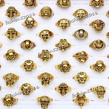 biker men Gold tone rings jewelry Free wholesale lots 5pcs skull carved
