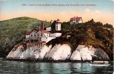 California postcard San Francisco Bay Light House on Yerba Buena Island
