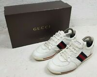 GUCCI Men's White Leather Signature Web Sneakers Shoes EUR 42.5 GG
