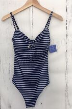NEW Women's BEACH By Melissa Odabash One Piece Stripe Blue White Size SMALL S