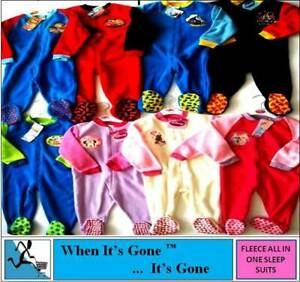 Girls Boys Soft Fleece All in 1 Sleepsuit Jumpsuit Cartoon Characters 1-5 Years