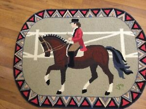 CLAIRE MURRAY, New Hooked Rug, Horse & Rider, Belmont, Pimlico, Kentucky Derby