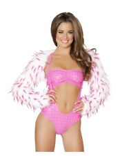 J Valentine Spike Faux Fur Shrug White with Pink Spikes One Size New with tags