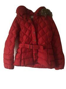 Ladies Poivre Blanc designer ski jacket Red, detachable faux fur hood Medium