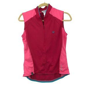 Pearl Izumi Sleeveless 1/2 Zip Cycling Jersey Women's L Pink 2 tone Pockets