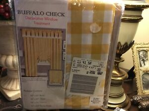 "(2) Yellow-Buffalo Check-Curtain Panels-42"" X 63"" Each-NIP/NEW-Poly/Cotton Mix-"