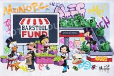 Alec Monopoly MONOPZ SAVES SMALL BIZ SCREEN PRINT Barstool SOLD OUT RARE In Hand