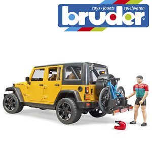 Bruder Jeep Wrangler Rubicon & 1 Mountain Bike & Cyclist Kids Toy Scale 1:16