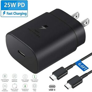 25W Type USB-C Super Fast Wall Charger + 6FT Cable For Samsung Galaxy S20 S21 5G