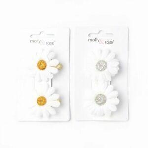 2 X Hair Clip Textile Flowers White Gold and silver Daisy hair clip Flower (06)