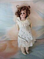 """Antique 12"""" Kestner  Germany (154 1) Dep Doll Leather Body Bisque NO EYES (C1)"""