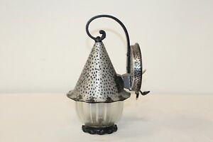 Vintage Arts & Crafts Wall Sconce Light Fixture #2 Lantern Shape Metal Glass