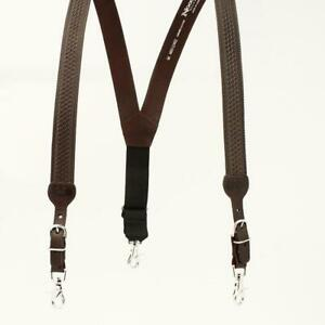 N8512402 Nocona Brown Gallus Leather Suspenders with Basketweave Tooling NEW