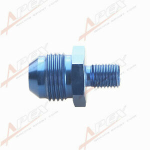 -8AN 8AN Male Flare To M10 x1.25 Metric Straight Fitting Aluminum Blue