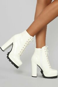 "White Chunky Combat Block 5""Heeled Bootie Boots 7.5 US"