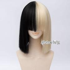 "14"" Half Blonde Mixed Black Bob Sia Women Cosplay Wig + Free Cap"