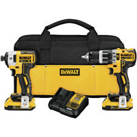 DEWALT 20V MAX XR 2.0 Ah Li-Ion 2-Tool Combo Kit DCK287D2R Certified Refurbished