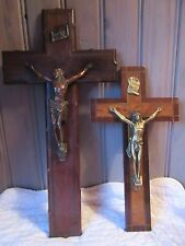 FRENCH ART DECO PERIOD MID XX th. C. WALL CRUCIFIX REGULE WOOD 15 inches