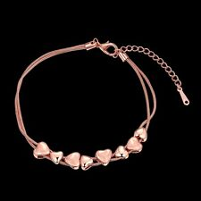 NEW ARRIVAL LOVELY ROSE GOLD PLATED HEART SHAPED BRACELET - UK SELLER