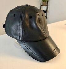 Wilson's Leather Black Adjustable Baseball Hat Cap