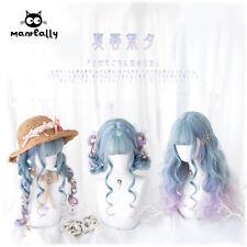 Princess Lolita Blue Purple Pink Gradient Wig Cosplay Curly Hair Daily Harajuku