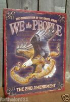 2nd Amendment We The People Eagle Constitution Right Tin Metal Sign Wall Vintage