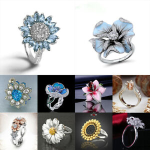 Elegant Women Sunflower Rings 925 Silver Wedding Blue Sapphire Jewelry Size 6-10