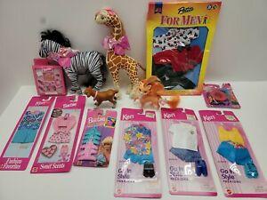 Vintage Barbie accessories Lot Ken, Sealed, Giraffe, Zebra