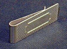 Money Clip ~ Silver-Tone W/Diagonal Lines, Rectangular Engraving Space #5320260