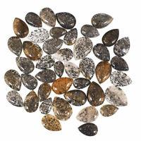 42 Pcs Natural Black Sunstone Glittering 9mm-13mm Pear Cabochon Gemstones Lot