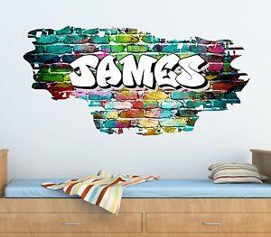 Personalised Graffiti Brick & Name Wall Art Sticker,Decal, Graphic,Transfer tr45