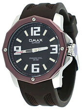 Omax Supreme TS671-BR Men's Octágono Stainless Steel Resin Band Sports Watch