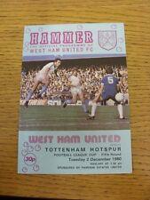 02/12/1980 West Ham United V TOTTENHAM HOTSPUR Football League Cup [] (piegato). T