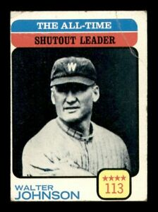 1973 Topps Set Break # 476 Walter Johnson Shutout Leader VG Crease *OBGcards*