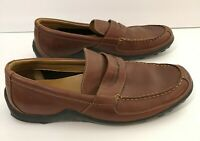 COLE HAAN Mens Dress Shoes Brown Leather Casual Slip On Penny Loafers Size 11M