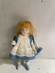 Antique German Bisque Jointed Miniature Dollhouse Doll Dressed !