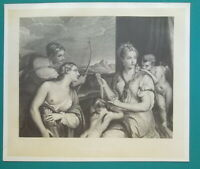 NUDE Goddess Venus Blindfolding Cupid - 1876 Heliotype Print after TITIAN