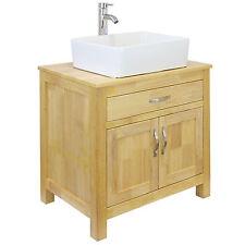 Bagno mobiletto armadietto in rovere massello QUADRATO lavabo in ceramica lavandino rubinetto & Plug