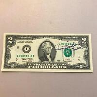 Rollie Fingers HOF Signed Autographed 2003 $2 Dollar Bill With Tristar Hologram