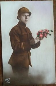BELGIAN SOLDIER Flowers Happy Birthday Colour Patriotic PC 1924