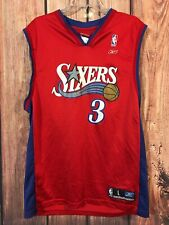 d0da5ba86 RARE Vtg Iverson Reebok Philadelphia Sixers 76ers Jersey Team Classics Sz L  Red
