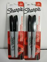 (2) Sharpie Fine Point Permanent Markers Black Ink 2 count each