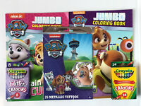 5 Paw Patrol Jumbo Coloring & Activity Books Metallic Tattoos Glitter Crayons