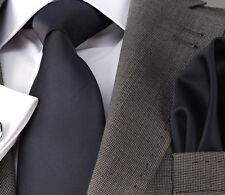 NAVY BLUE SILK TIE & HANKY - ITALIAN DESIGNER Milano Exclusive