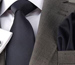 ITALIAN DESIGNER Milano Exclusive NAVY BLUE SILK TIE & HANKY