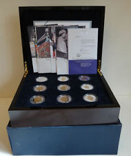 2006 SET 17 x 1oz .925 SILVER & GOLD PROOF CROWN COINS + BOX - QUEENS 80th B'day