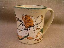 G. Miller Signed Handpainted Handturned Pottery Coffee Mug Cup w/ Floral Design