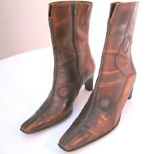 Gorgeous SEXY ITALIAN brown ANKLE BOOTS whipstitched WESTERN pointed toe 38 7.5