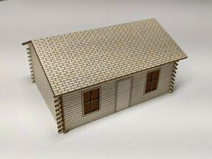 HO Scale Log Cabin House Kit - Laser Cut Wood Model Train Scenery Building